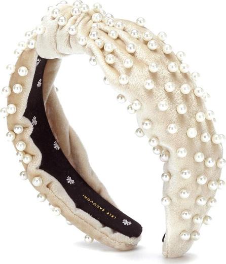 Lele Sadoughi Velvet faux pearl headband