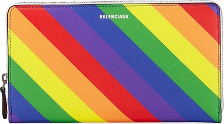 Balenciaga Ville Rainbow Stripe Leather Continental Wallet