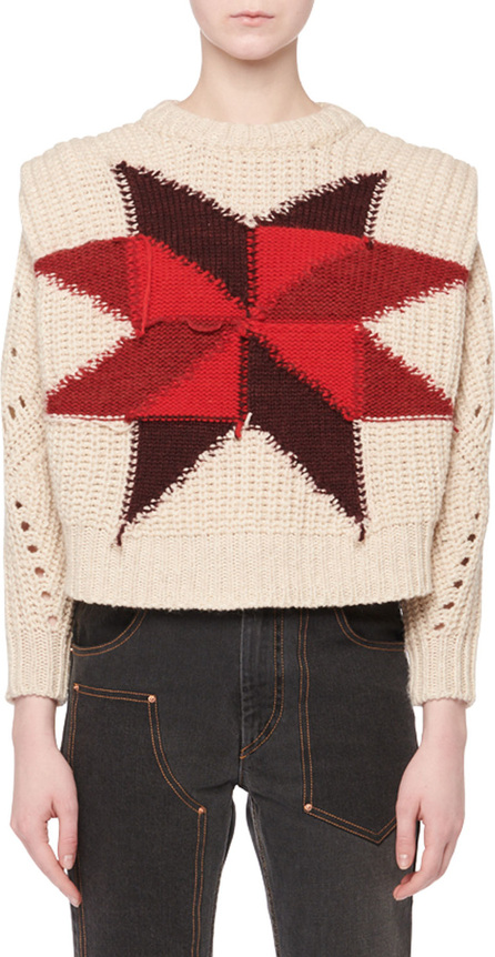 Isabel Marant Nordic Crewneck Star Intarsia Boxy Wool-Mohair Sweater