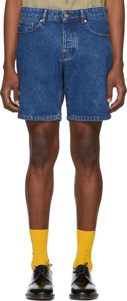 AMI SSENSE Exclusive Blue Denim Washed Shorts