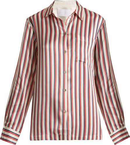Asceno Patch-pocket striped silk pyjama shirt