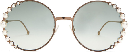 Fendi Faux-pearl embellished round-frame sunglasses
