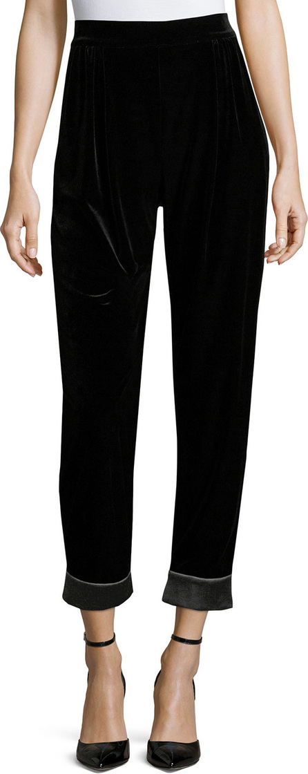Armani Collezioni Velvet Cuffed Fashion Pants, Black
