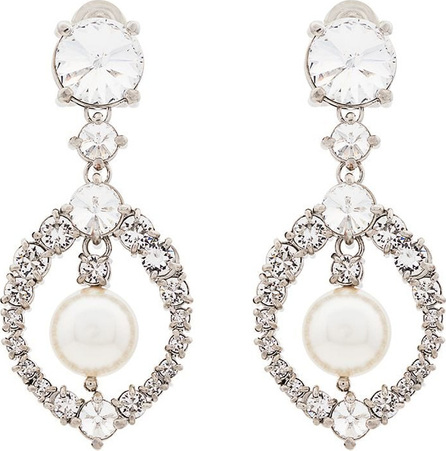 Miu Miu Metallic silver crystal and pearl drop earrings