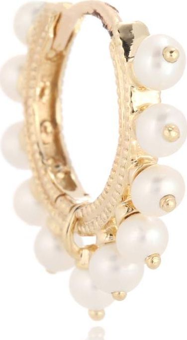 Maria Tash Pearl Coronet Ring 14kt gold and pearl earring