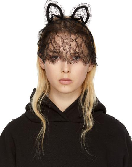 Maison Michel Black Lace Heidi Cat Veil Headband