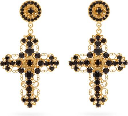 Dolce & Gabbana Crystal-embellished drop clip earrings