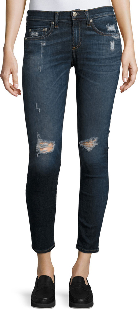 Rag & Bone Capri Denim Jeans W/ Rips