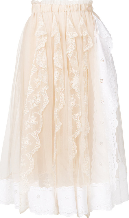 Simone Rocha Pleated lace trim skirt