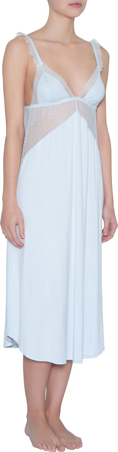 Eberjey Phoebe Luxe Mesh-Inset Nightgown