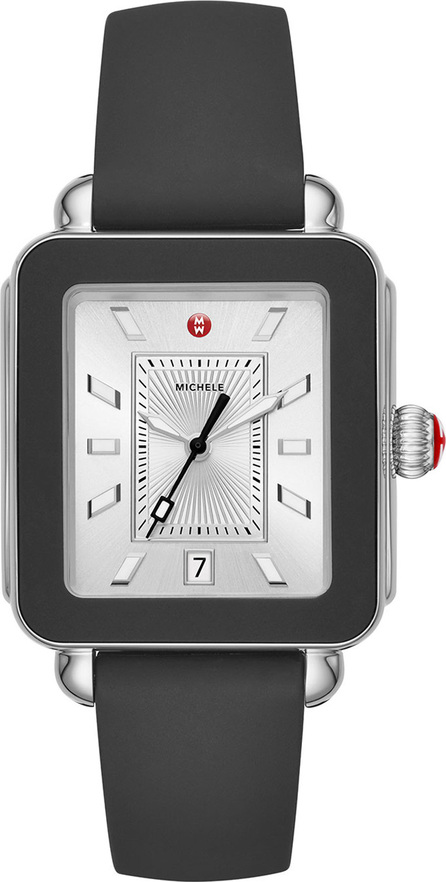 MICHELE Deco Sport Silicone Watch, Black