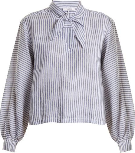 FRAME DENIM Striped tie-neck linen blouse