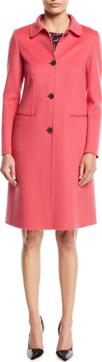 Emporio Armani Button-Front Classic Cashmere Coat w/ Martingale Strap