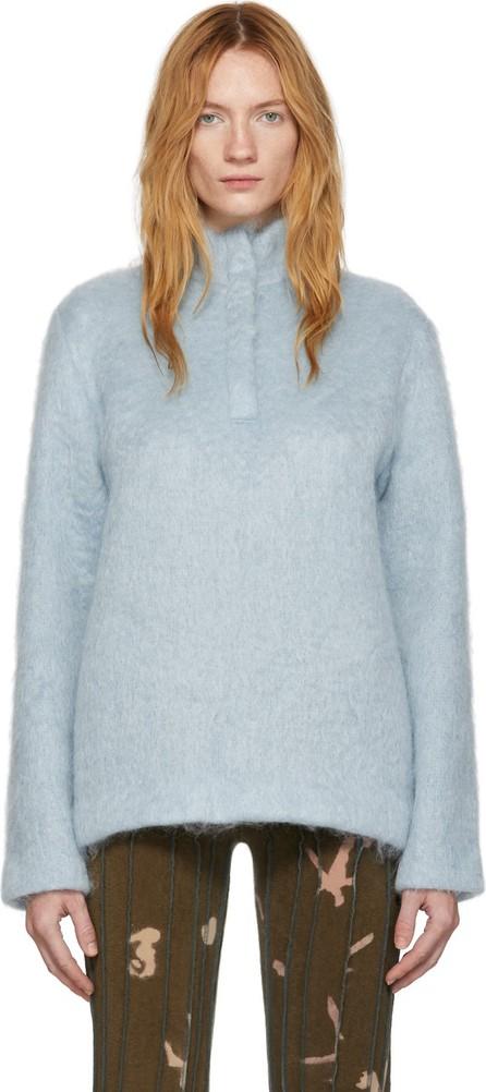 Bless Blue Mohair Zip-Up Pullover