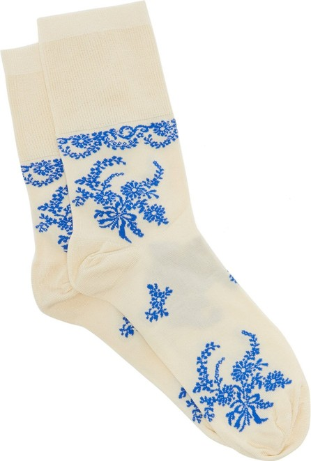 Simone Rocha Delft floral-intarsia socks