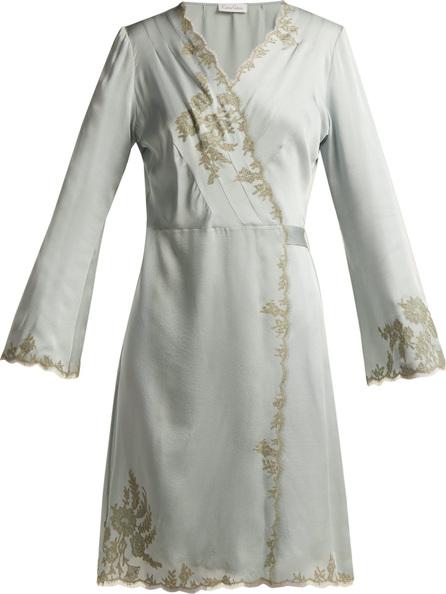 CARINE GILSON Lace-trimmed silk-satin kimono