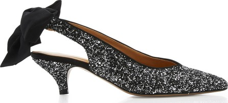 Ganni Salma Glittered Leather Slingback Pumps