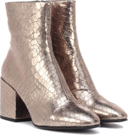 Dries Van Noten Metallic leather ankle boots