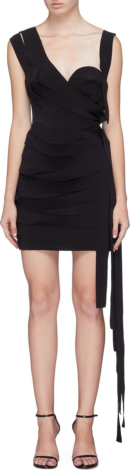 Carmen March Asymmetric strappy fringe piqué bustier dress