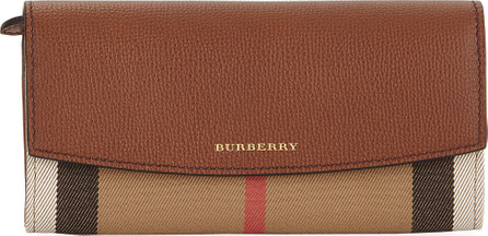 Burberry London England Porter House Check & Leather Continental Wallet, Cocoa