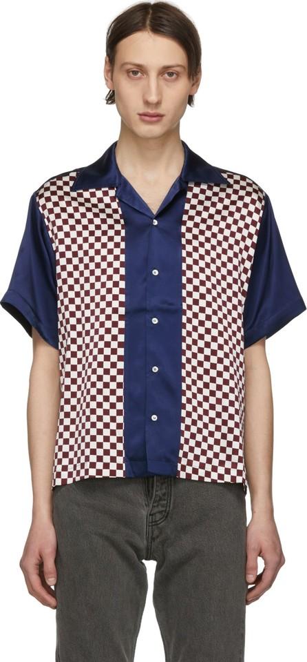 Enfants Riches Deprimes Blue & Burgundy Check Silk Block Shirt