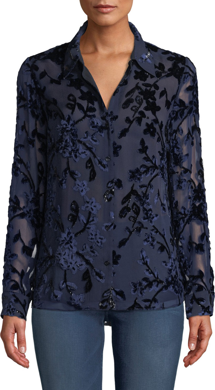 d3668b689aef70 Elie Tahari Martha Long-Sleeve Button-Front Floral Devore Velvet Blouse