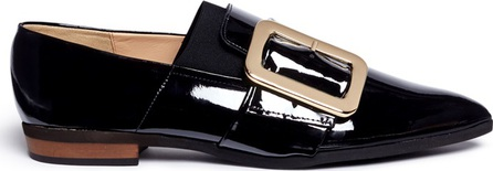 Fabio Rusconi Oversized buckle patent leather slip-ons