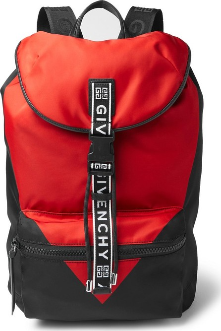 Givenchy Logo-Jacquard and Leather-Trimmed Colour-Block Nylon Backpack