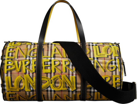 Burberry London England Medium Graffiti Print Vintage Check Barrel Bag