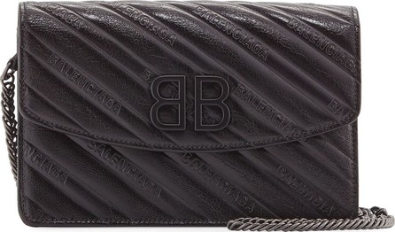 Balenciaga BB Logo-Embossed Leather Wallet On Chain