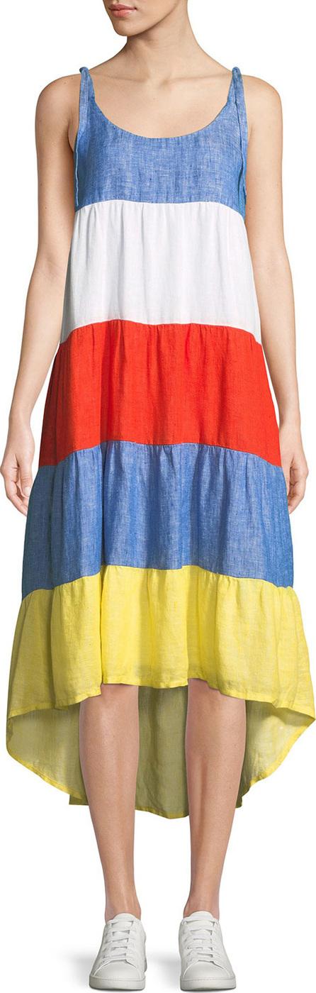 Joie Eufonia Colorblock Linen High-Low Dress