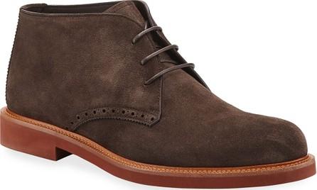 Ermenegildo Zegna Men's Trivero Suede Chukka Boots w/ Brogue Detailing