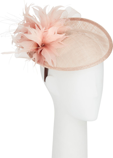 Jane Taylor Allegra Straw Fascinator Hat w/ Feather Trim
