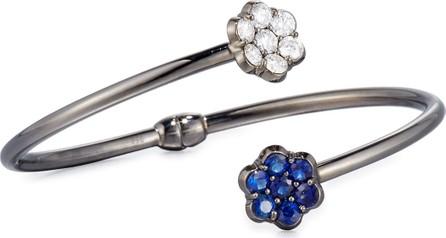 Bayco 18K Black Gold Diamond & Blue Sapphire Floral Bypass Bracelet