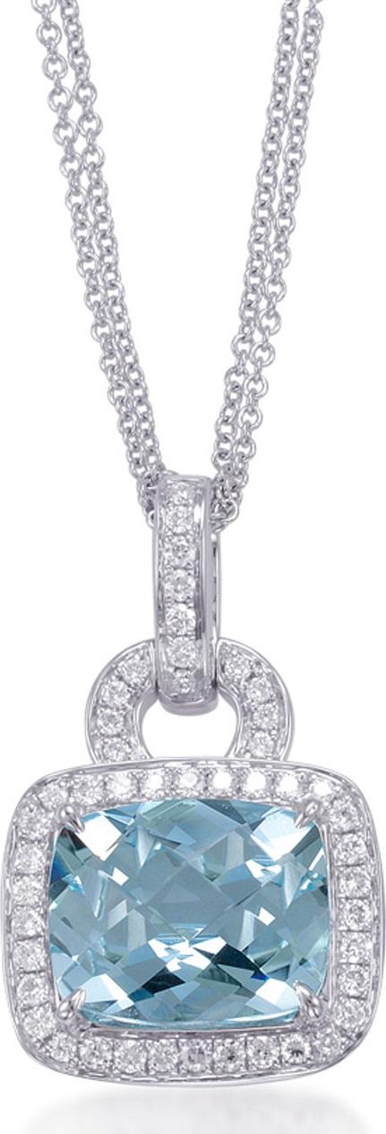 Frederic Sage Roma Aquamarine & Diamond Pendant Necklace
