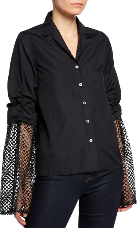 Anaïs Jourden Poplin Button-Up Blouse with Mesh Sleeves