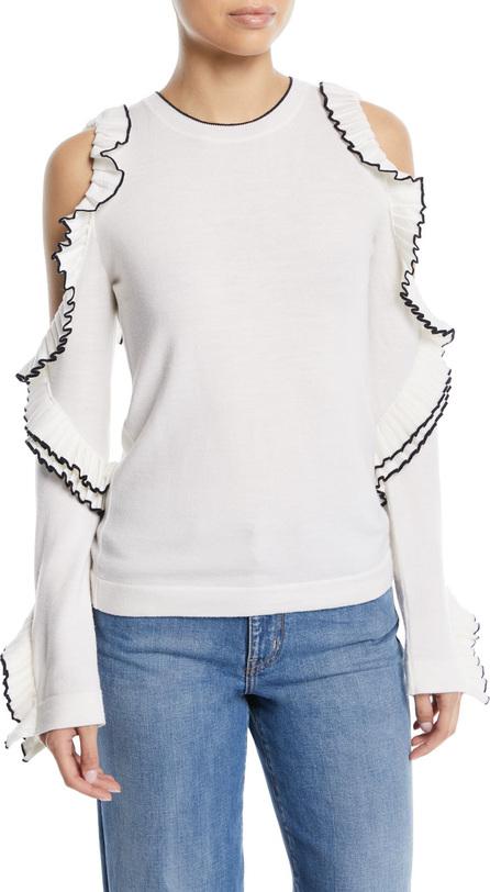 Oscar De La Renta Cold-Shoulder Long-Sleeve Wool Knit Top w/ Ruffled Frills