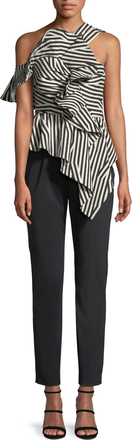 Self Portrait Abstract-Stripe Asymmetric Ruffle Jumpsuit