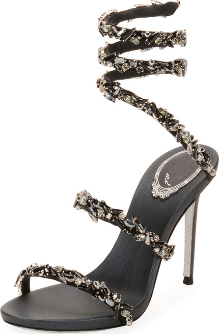 Rene Caovilla Snake-Coil Sandal with Crystal Detail