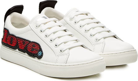 MARC JACOBS Empire Leather Sneakers with Love Embellishment