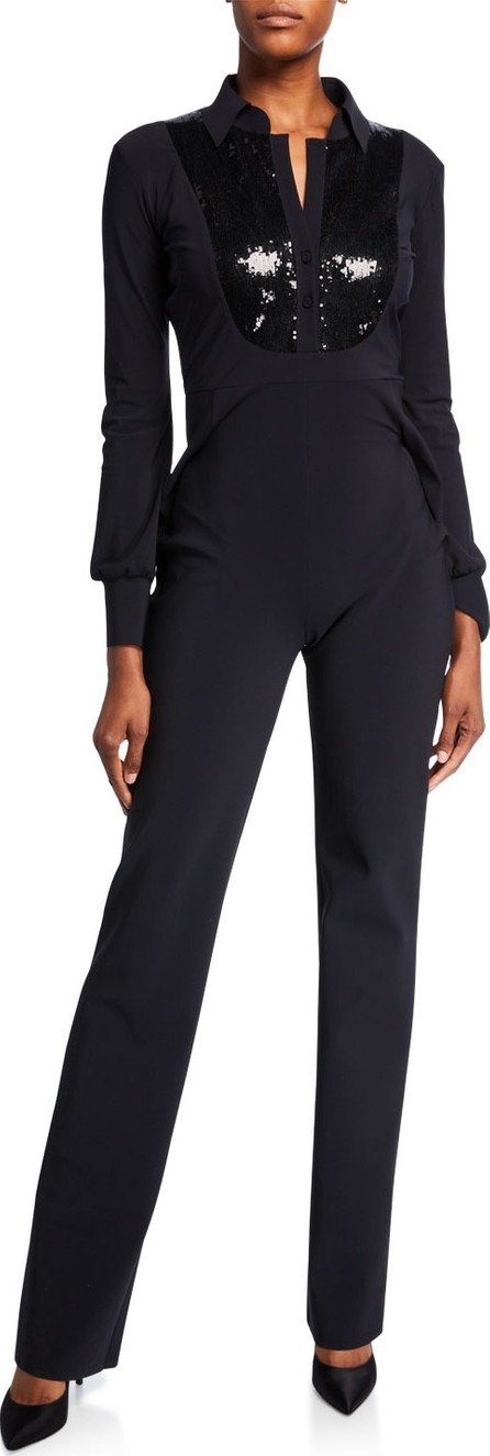 La Petite Robe di Chiara Boni Sequin-Bib Long-Sleeve Tux Jumpsuit