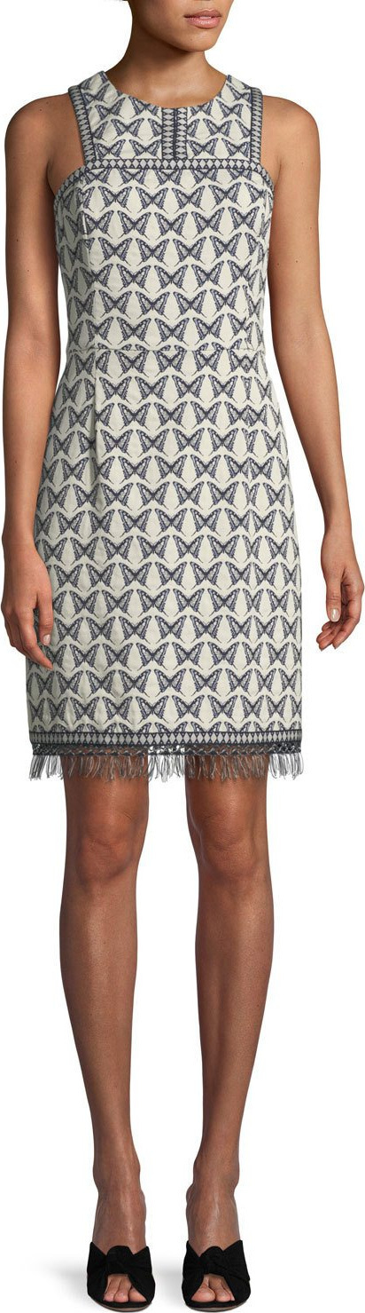 Trina Turk Pacific Butterfly Sleeveless Jacquard Fringe Dress