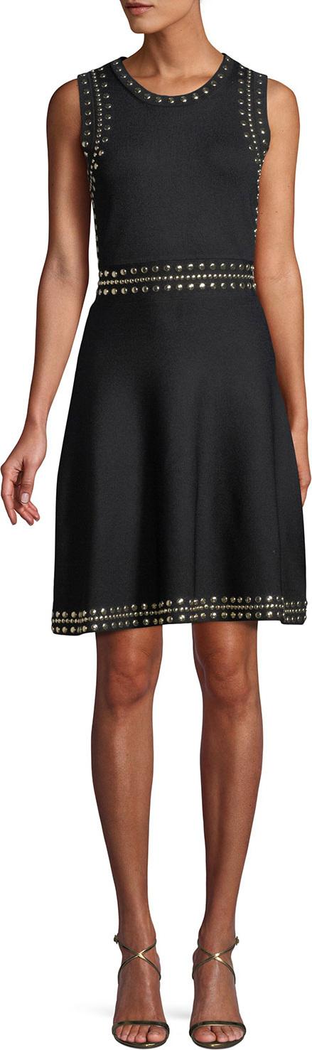 MICHAEL MICHAEL KORS Studded-Trim Sleeveless Fit-and-Flare Dress