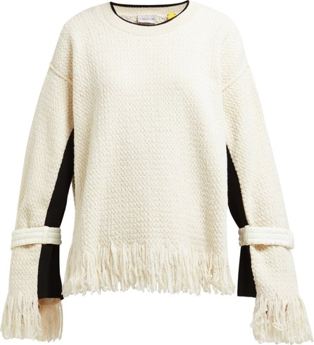 2 Moncler 1952 Fringed cotton-blend sweater