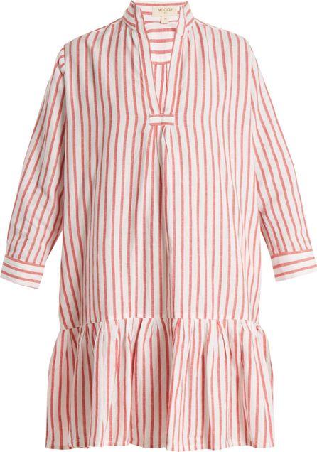Wiggy Kit Nehru-collar ruffled-hem striped dress