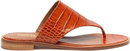 Paris Texas Croc embossed flat thong sandals