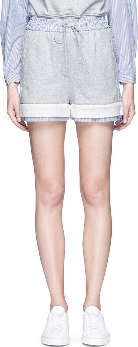 3.1 Phillip Lim Stripe poplin trim French terry shorts