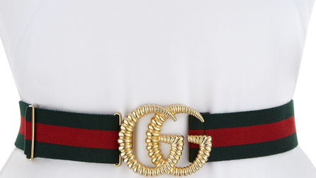Gucci Piccadilly Moon Elastic Web Belt w/ Textured GG Buckle