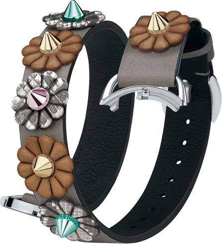 Fendi 17mm Selleria Leather Flower Stud Watch Strap