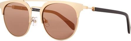 Balmain Round Semi-Rimless Mirrored Sunglasses